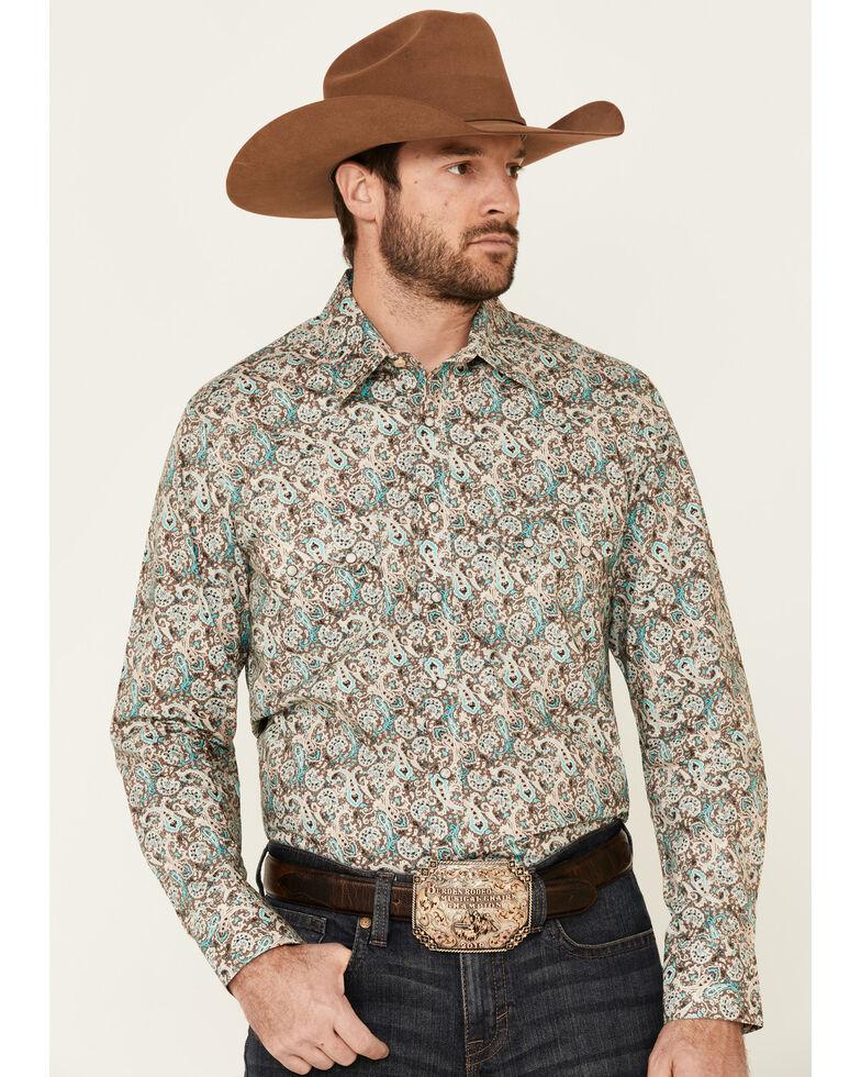 Rock & Roll Denim Men's Teal Paisley Print Long Sleeve Western Shirt , Multi, hi-res