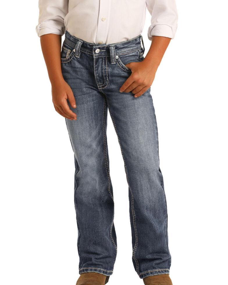 Rock & Roll Denim Boys' Dark Vintage Boot Jeans , Blue, hi-res