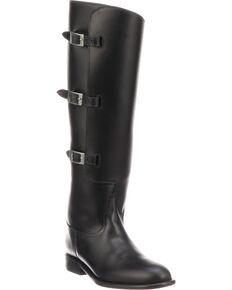 Lucchese Women's Handmade Bruna Black Buckle Fashion Boots - Round Toe, Black, hi-res