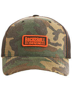 Rock & Roll Cowboy Men's Camo Print Twill Snap Back Ball Cap , Camouflage, hi-res