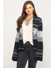 Powder River Outfitters Women's Cactus & Bronco Cardigan, Black, hi-res