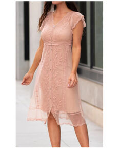 Miss Me Women's Blush Lace Button Front Midi Dress, Blush, hi-res