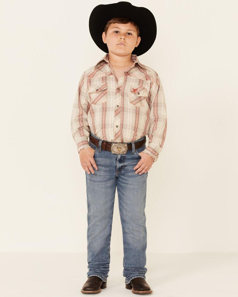Cowboy Hardware Boys' Tan Woven Plaid Long Sleeve Snap Western Shirt , Tan, hi-res