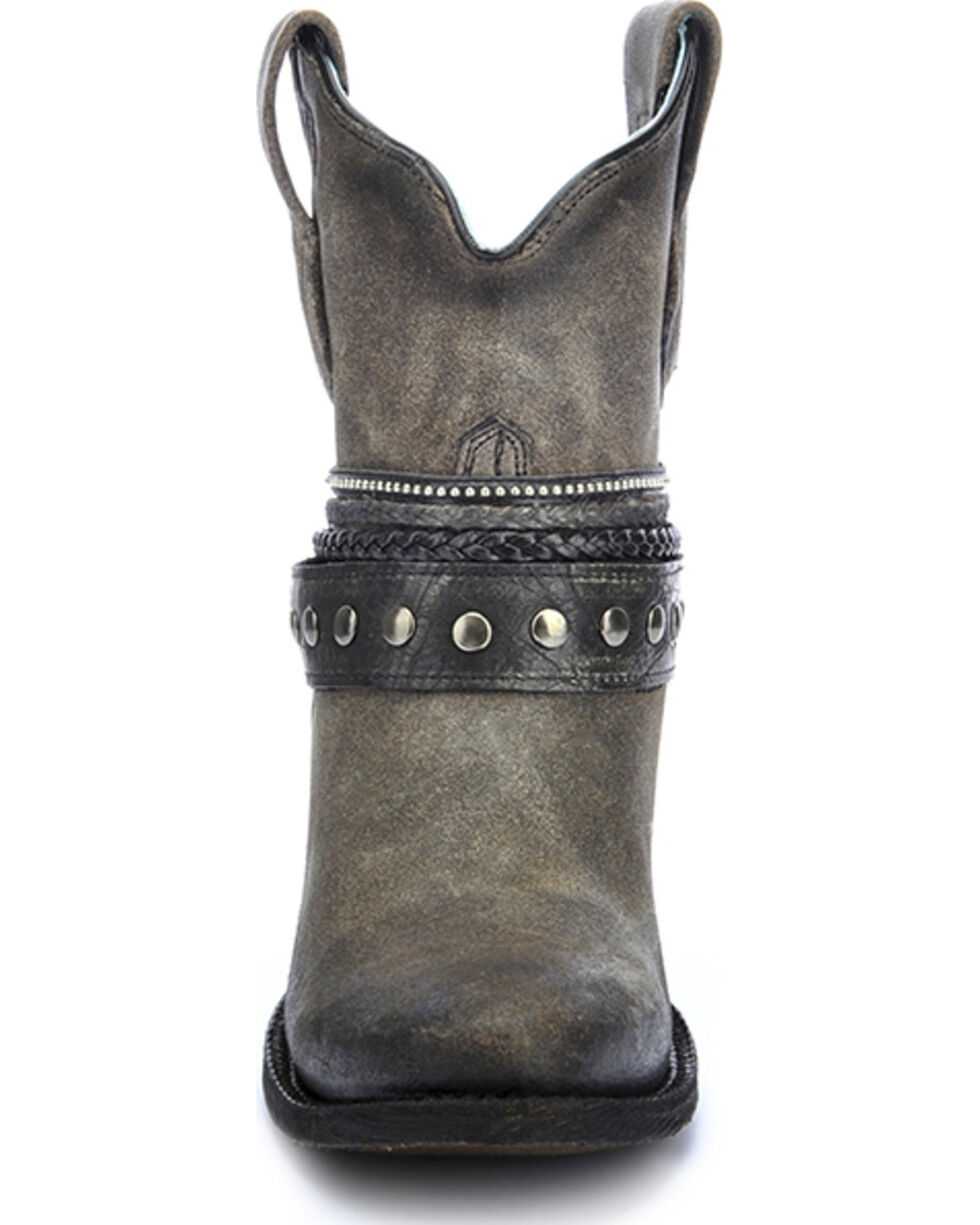Corral Women's Studded Strap Booties - Round Toe, Black, hi-res