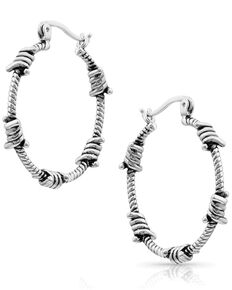 Montana Silversmiths Women's Barbed Wire Hoop Earrings, Silver, hi-res