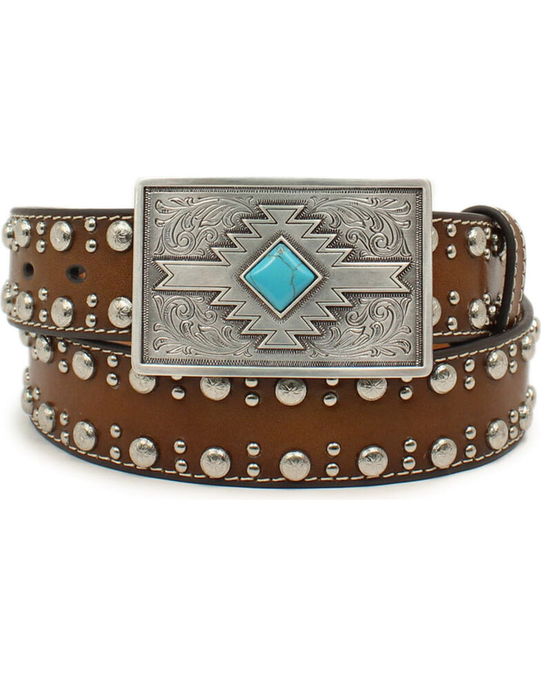 Nocona Women's Silver Stud Aztec Design Buckle Belt, Brown, hi-res