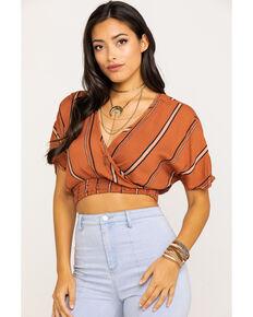 Angie Women's Rust Stripe Wrap Short Sleeve Crop Top, Rust Copper, hi-res