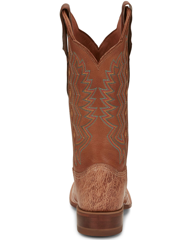 Justin Women's Brandy Smooth Ostrich Western Boots - Wide Square Toe, Brown, hi-res