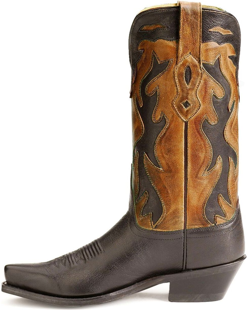 Old West black inlay cowgirl boots, Black, hi-res