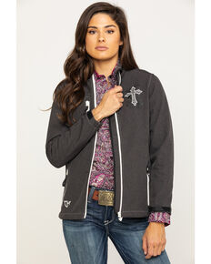 Cowgirl Hardware Women's Blooming Cross Softshell Jacket, Brown, hi-res