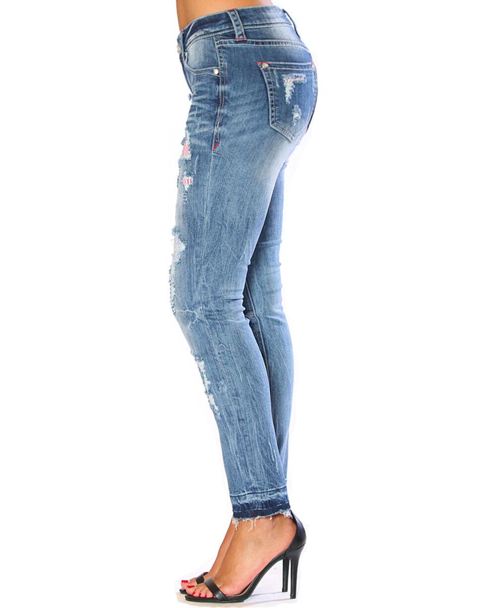 Grace in LA Women's Americana Destructed Release Hem Skinny Jeans, Blue, hi-res