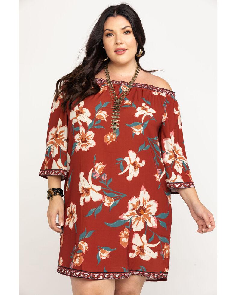 Flying Tomato Women's Off The Shoulder Floral Print Dress - Plus, Red, hi-res
