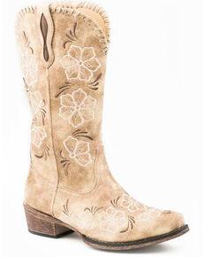 Roper Women's Riley Whip Western Boots - Snip Toe, Tan, hi-res