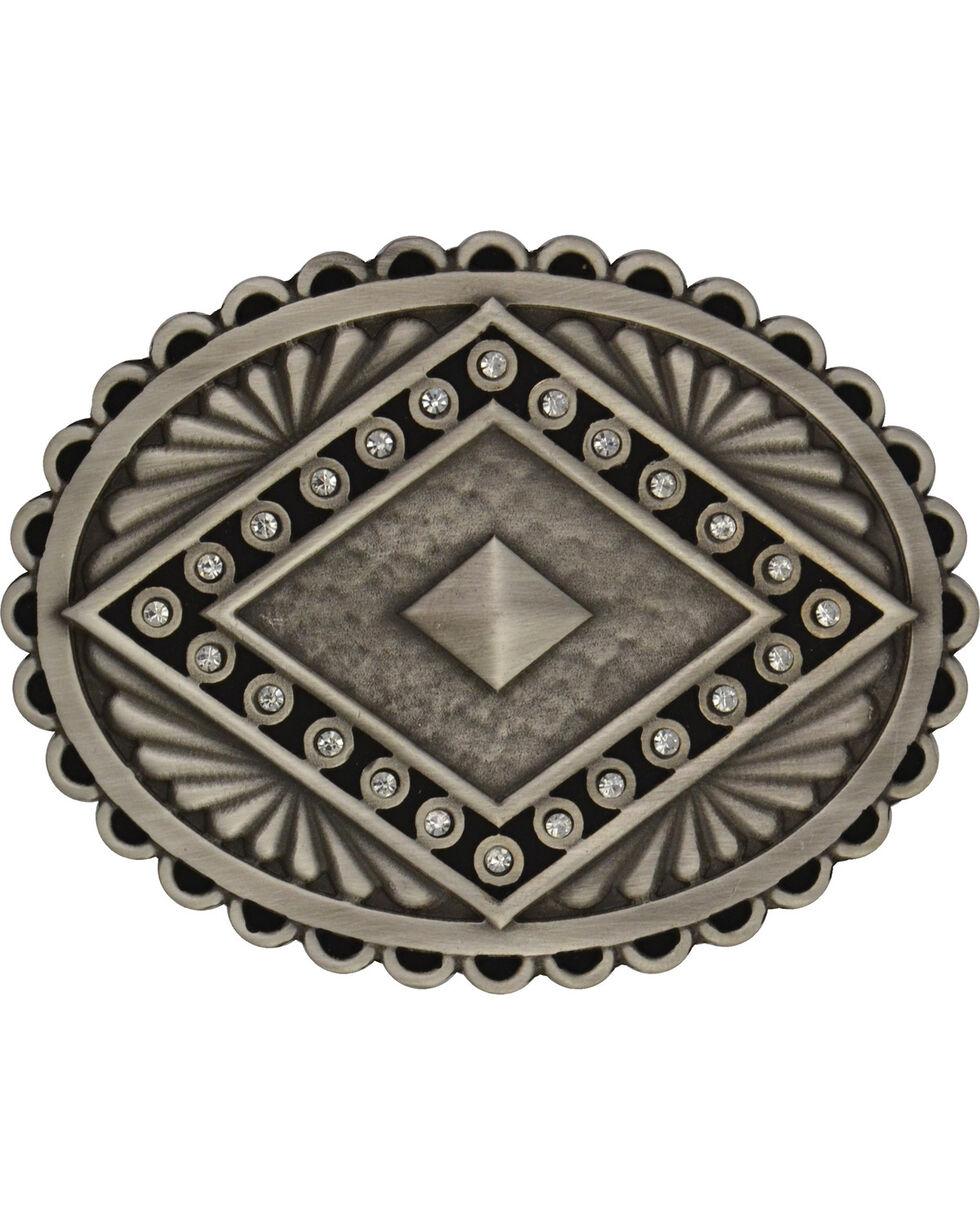 Rock 47 by Montana Silversmiths Points of Aztec Silver Pyramid Attitude Buckl, Antique Silver, hi-res