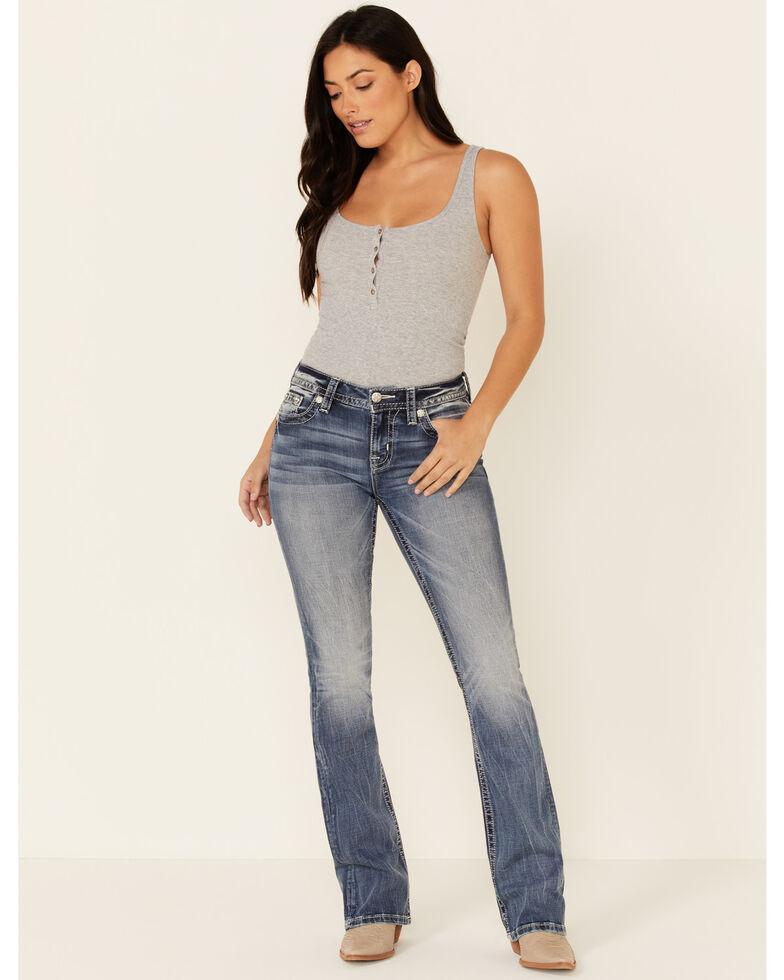 Miss Me Women's Americana Blowout Bootcut Jeans, Blue, hi-res