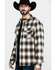 Cinch Men's Multi Plaid Twill Shirt Jacket , Purple, hi-res