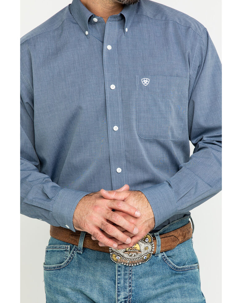 Ariat Men's Wrinkle Free Oxford Solid Long Sleeve Western Shirt - Tall , Navy, hi-res
