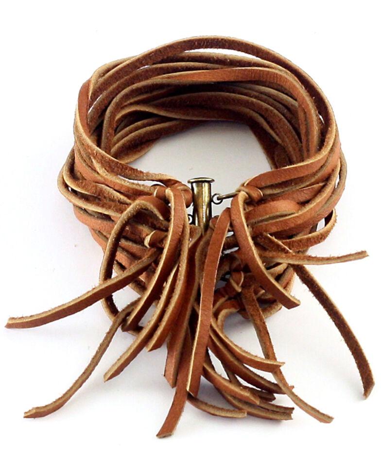 Astali Women's Rust Leather Biker Cuff, Brown, hi-res