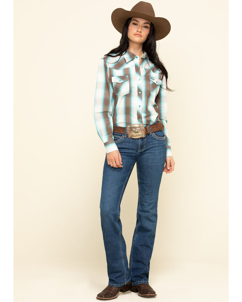 Cowgirl Hardware Women's Brown & Turquoise Plaid Button Western Shirt  , Turquoise, hi-res