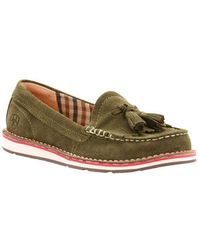 Ariat Women's Olive Tassel Cruiser Loafers , Olive, hi-res