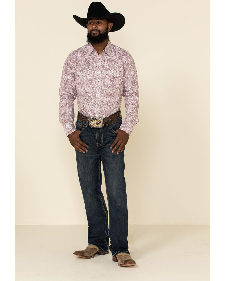 Wrangler Retro Men's Premium White Paisley Print Long Sleeve Western Shirt , White, hi-res