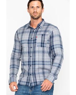 Levis Men's Bram Flannel Long Sleeve Western Shirt , Grey, hi-res
