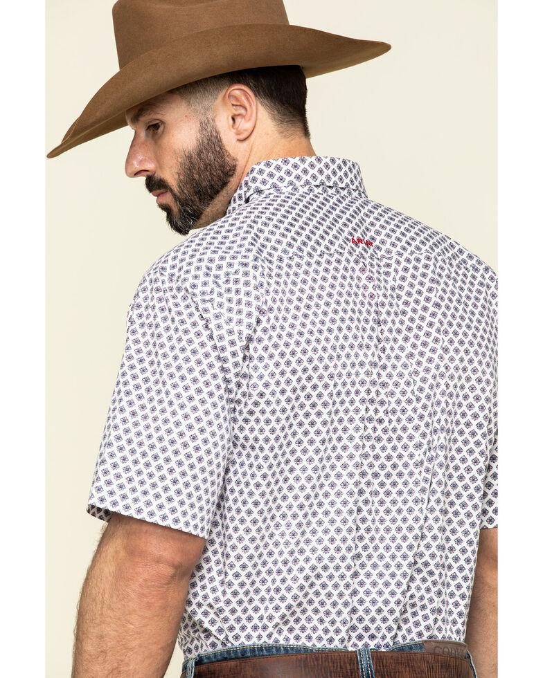 Ariat Men's Thomaston Stretch Geo Print Short Sleeve Western Shirt - Tall , White, hi-res