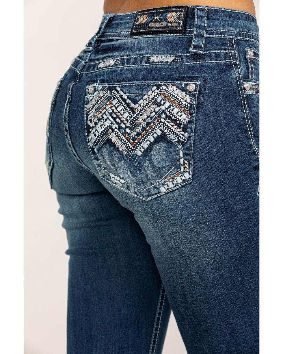 Grace in LA Women's Mid Boot Chevaztec Bling Jeans, Blue, hi-res