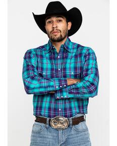 Wrangler Men's Wrinkle Free Turquoise Plaid Long Sleeve Western Shirt , Turquoise, hi-res