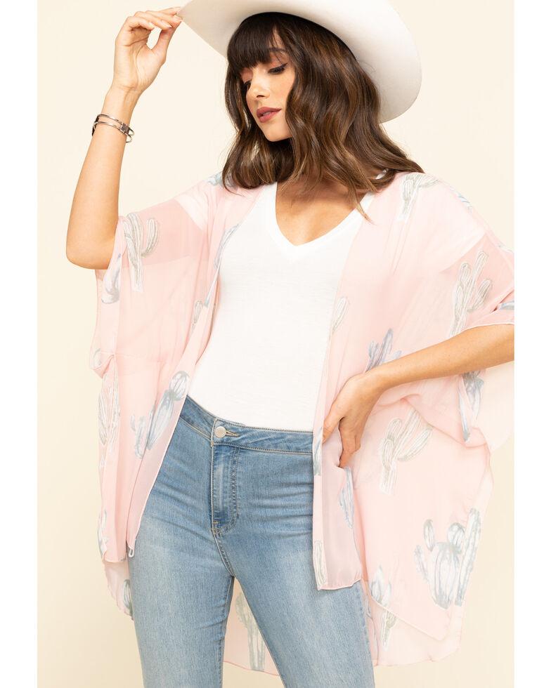 Red Label by Panhandle Women's Pink Cactus Chiffon Kimono, Pink, hi-res