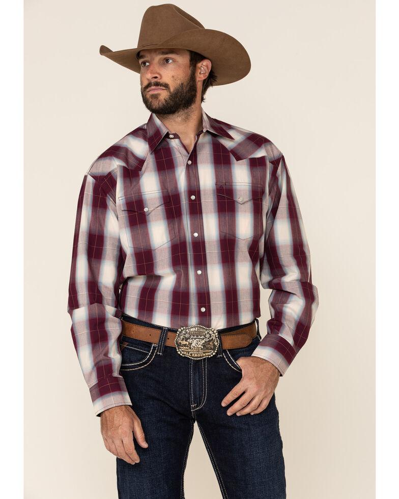 Stetson Men's Wine Grande Plaid Long Sleeve Western Shirt , Burgundy, hi-res