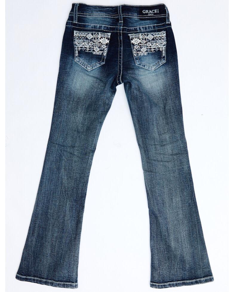 Grace In LA Girls' Dark Aztec Embellished Pocket Bootcut Jeans, Blue, hi-res