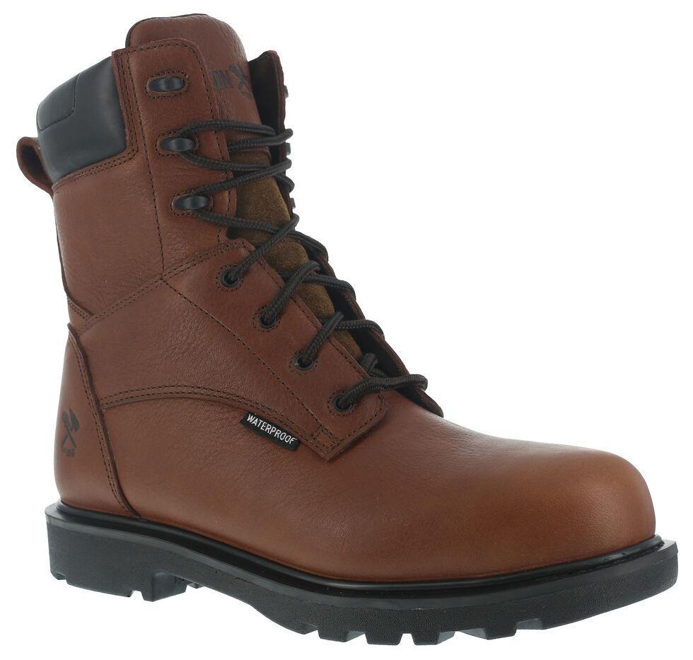 "Iron Age Men's Hauler Composite Toe Waterproof 8"" Work Boots, Brown, hi-res"