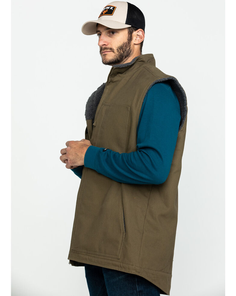 Hawx Men's Olive Canvas Sherpa Lined Work Vest - Tall , Olive, hi-res