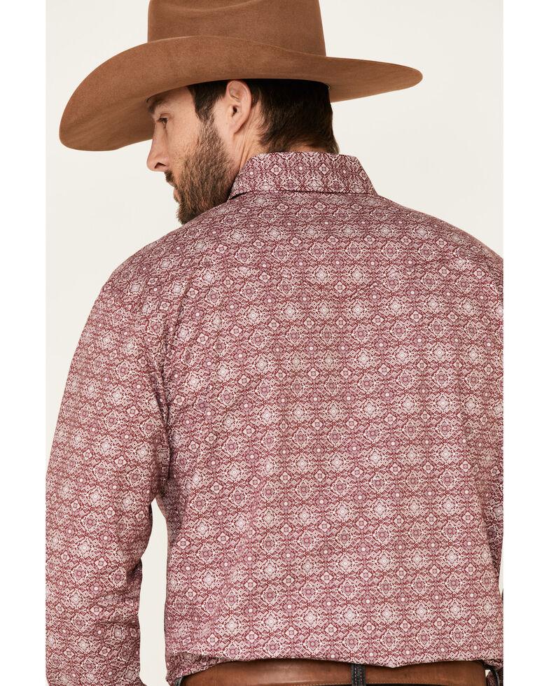 Rough Stock By Panhandle Men's Wine Medallion Print Long Sleeve Western Shirt , Wine, hi-res