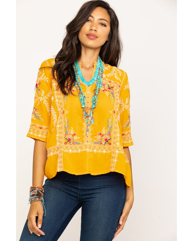 Johnny Was Women's Uma Easy Top, Dark Yellow, hi-res