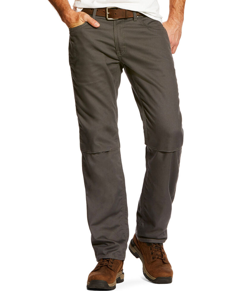 Ariat Men's Rebar M4 Stretch Canvas 5 Pocket Pants - Straight Leg , Light Grey, hi-res