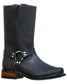 Boulet Men's Black Motorcycle Boots - Narrow Square Toe, Black, hi-res