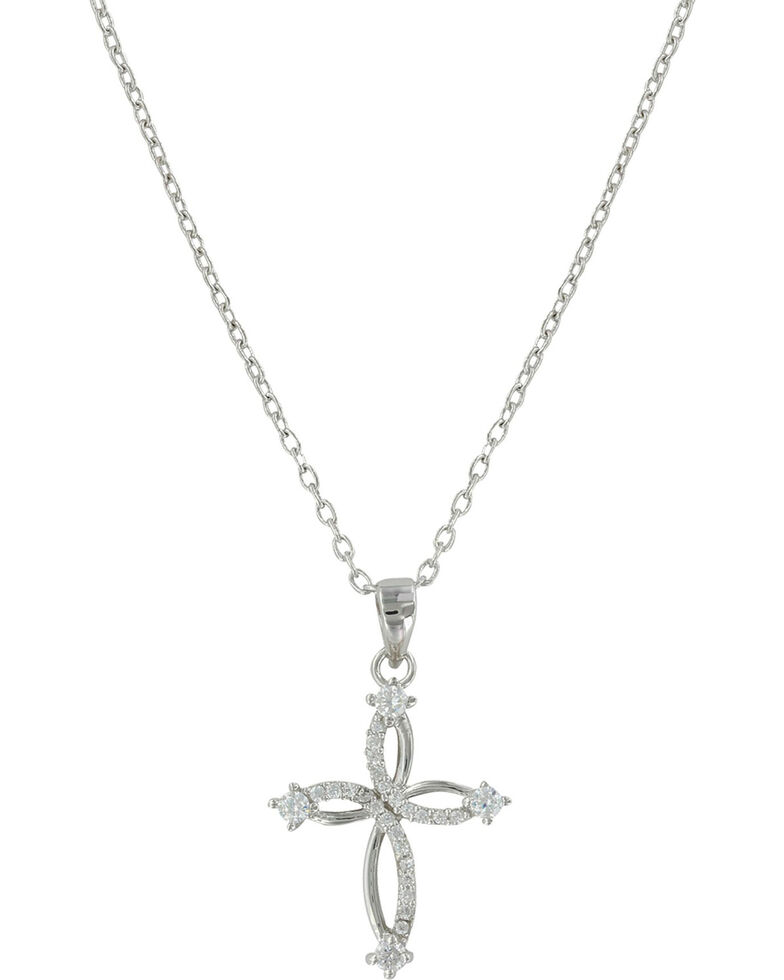 Montana Silversmiths Women's Silver Tangled Arms Cross Necklace , Silver, hi-res