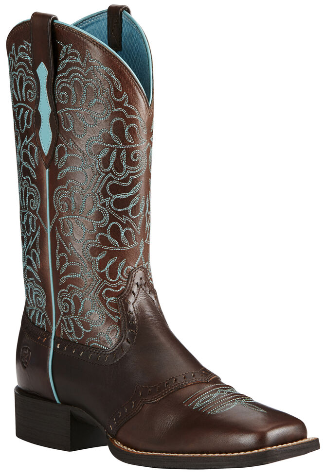 Ariat Women's Rich Brown Round Up Remuda Cowgirl Boots - Square Toe , Dark Brown, hi-res