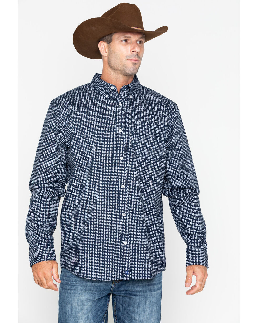 Cody James Core Men's Micro Paisley Print Long Sleeve Western Shirt: Big & Tall, Navy, hi-res