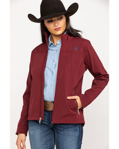 Ariat Women's Cabernet Heather Team Softshell Jacket, Red, hi-res