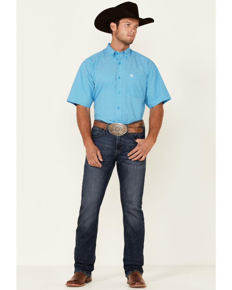 Ariat Men's Hampton Geo Print Short Sleeve Button-Down Western Shirt - Tall , Blue, hi-res