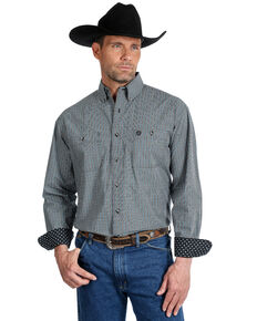 George Strait by Wrangler Men's Black Check Plaid Long Sleeve Western Shirt , Black/blue, hi-res