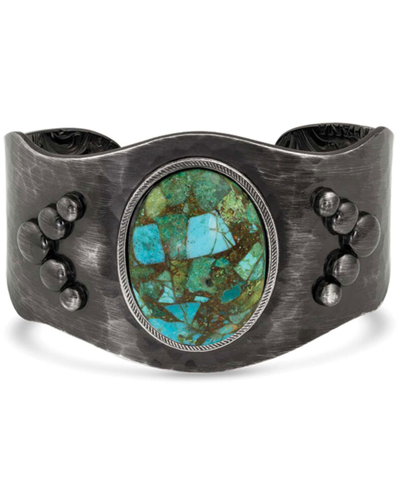 Montana Silversmiths Women's Shadows On The Water Turquoise Cuff Bracelet, Silver, hi-res