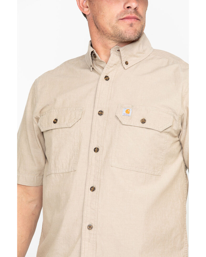 Carhartt Fort Short Sleeve Work Shirt, Tan, hi-res