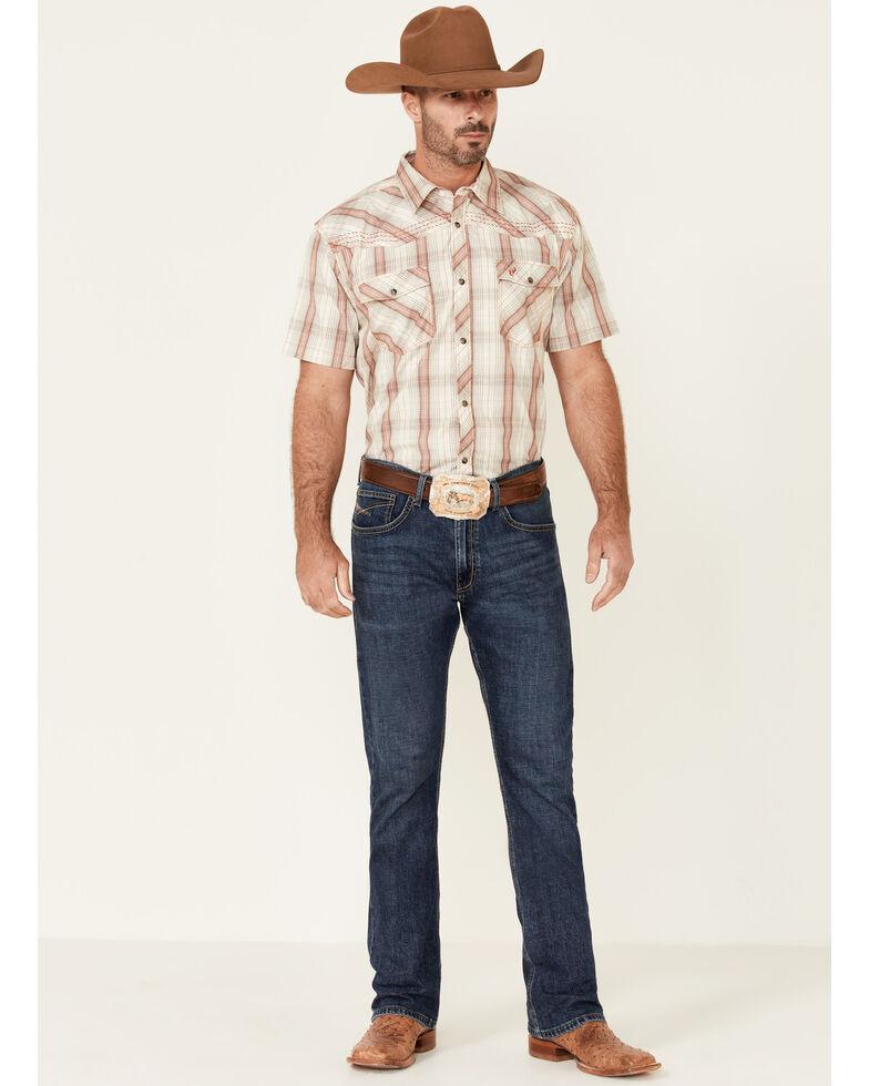 Cowboy Hardware Men's Bridle Large Plaid Short Sleeve Snap Western Shirt , Tan, hi-res