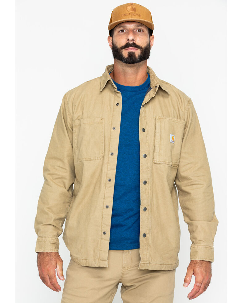 Carhartt Men's Rugged Flex Rigby Work Shirt Jacket , Beige/khaki, hi-res