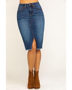 Shyanne Women's Medium Wash High-Rise Midi Skirt , Medium Blue, hi-res