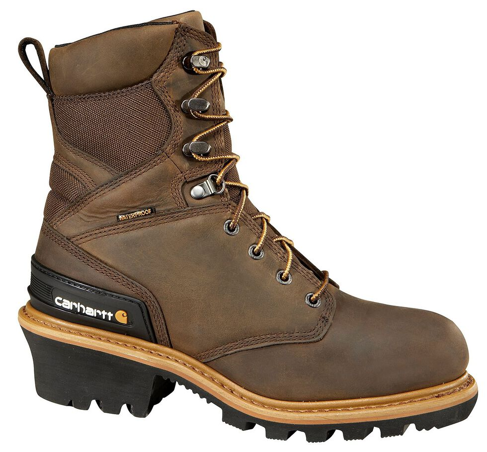 """Carhartt 8"""" Crazy Horse Brown Waterproof Insulated Logger Boot - Safety Toe, Crazyhorse, hi-res"""